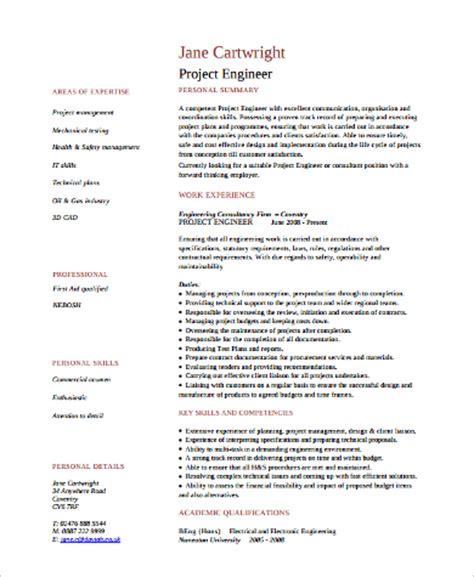 Project Engineer Resume Format by Sle Engineer Resume 9 Exles In Word Pdf