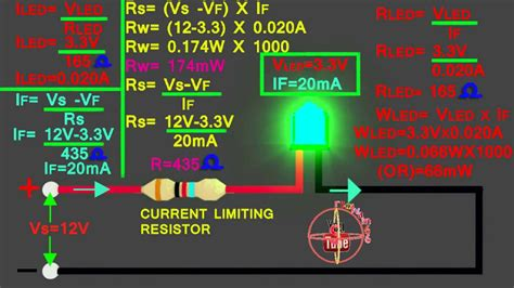 led   connect  circuit   calculate led series resistor wattsvoltamps youtube