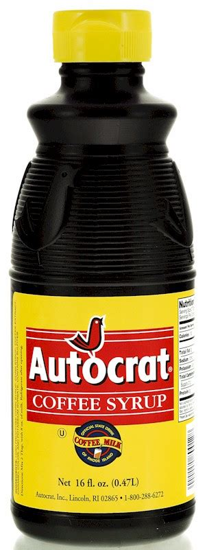 In rhode island, you get the official state drink — coffee milk. Autocrat Coffee Syrup 32 oz. bottle