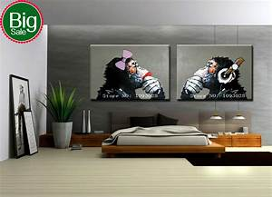 Hand painted Gorilla wall art picture living room home ...