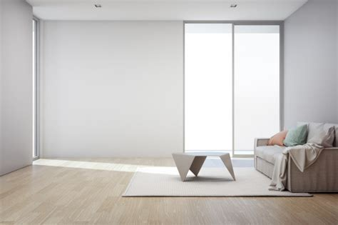 Living Room Empty Background by Wooden Floor With Empty Gray Concrete Wall Background In
