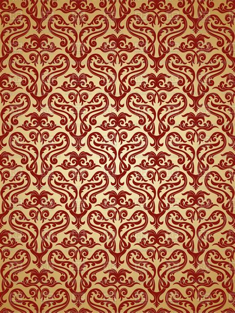 seamless red  gold damask pattern vector image