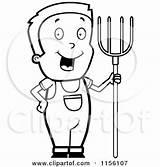 Farmer Boy Clipart Cartoon Pitchfork Coloring Vector Thoman Cory Outlined Royalty Boys 2021 sketch template