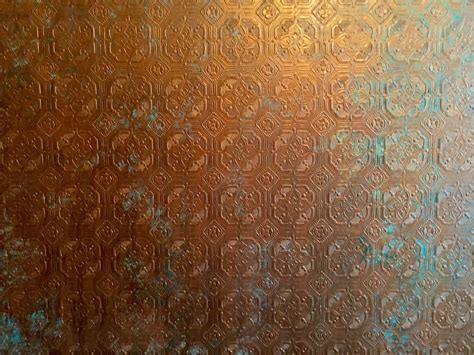 Anaglypta Wallpaper, Painted To Resemble Copper With A
