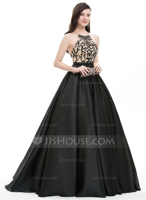 [€ 208.00] Ball-Gown/Princess Scoop Neck Sweep Train Satin ...