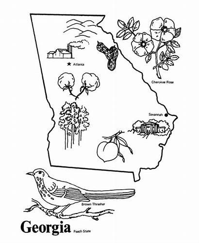 Georgia Coloring Map State Outline Usa Printables