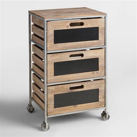 3 drawer storage cart wood and metal 3 drawer mackenzie rolling cart world market