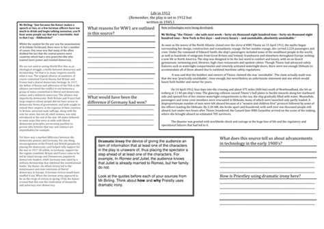 An Inspector Calls Context Lesson By Jwaller4  Teaching Resources Tes
