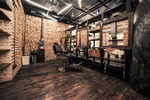 loft interior barbershop beautyshop style haircuts wood floor boat brick white