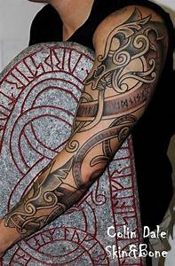 Colin Dale tattooed this sleeve filled with Norse imagery ...