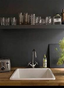 credence en peinture noir dans la cuisine contemporaine With beautiful peinture mur exterieur couleur 16 palette couleurs beton cire castorama