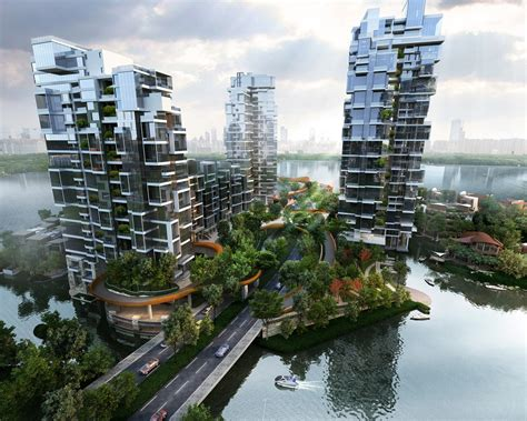 floating high rise community brings green space