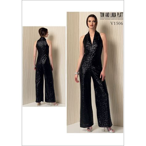 jumpsuit sewing pattern misses sleeveless wide leg jumpsuit vogue sewing pattern