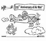 Usps Coloring Link Airmail Cartoon 100th Celebrates Anniversary Service Which sketch template