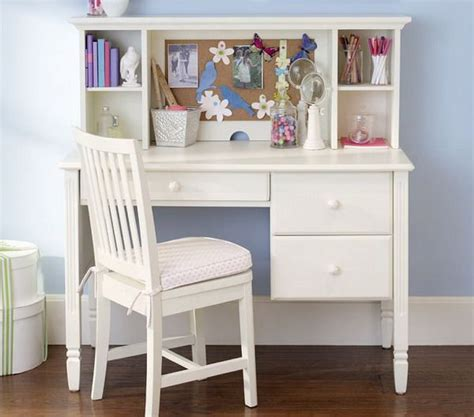 girls bedroom ideas  small white study desk  chair
