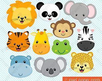 animal faces clipart clip zoo jungle farm barnyard forest woodland animal clipart clip