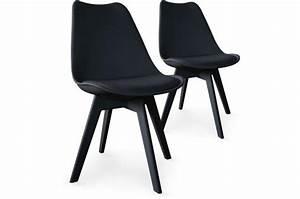 Chaises Scandinaves Noires : lot de 2 chaises scandinaves noires nira chaise design pas cher ~ Teatrodelosmanantiales.com Idées de Décoration