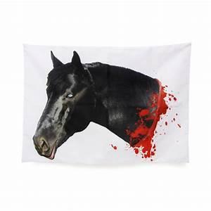 Pferdekopf Schwarz Weiß : abgehackter pferdekopf kissenbezug schwarz weiss rot 50x70cm ~ Watch28wear.com Haus und Dekorationen