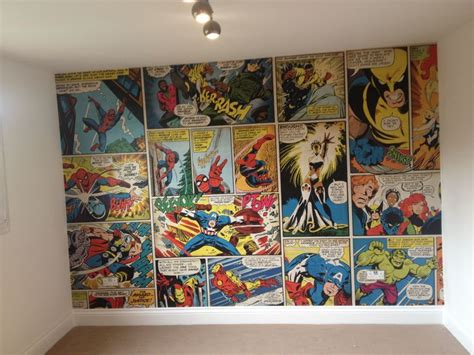 marvel comic wallpaper ronnie s bedroom