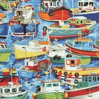 Fishing Boat Quilt by Colorful Fishing Boats On Water Cotton Quilt Fabric