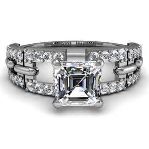 asscher cut engagement ring asscher cut micro pave set engagement ring engagement rings review