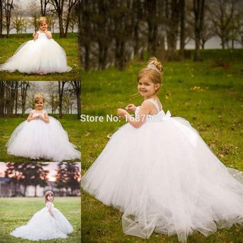 miniature bride white flower girl dresses  detachable