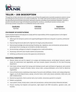 teller job description example 5 free pdf documents With example of a job description template
