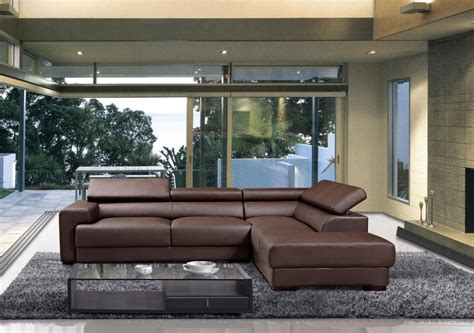 Brown Sofa And Rug In Modern Brown Leather Sectional Sofa