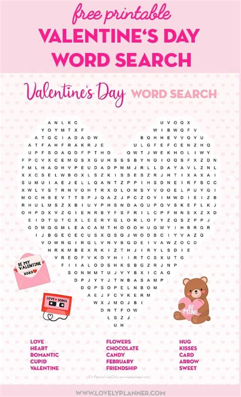printable valentines day word search lovely planner