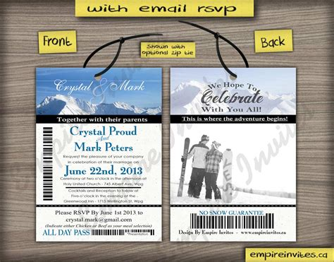 Custom Ski Pass Wedding Invitations From Winnipeg Canada
