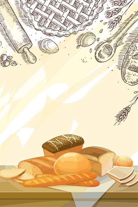hand painted bread cartoon vector dessert poster