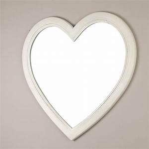 large ivory heart shaped wooden wall mirror by dibor