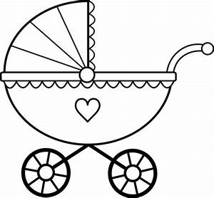 Baby Carriage Line Art - Free Clip Art