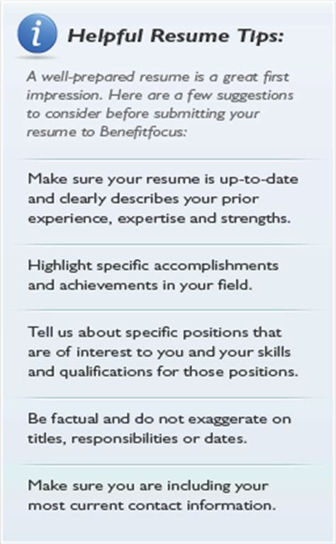Resume Tips And Tricks by Careers At Benefitfocus Current Openings Benefitfocus