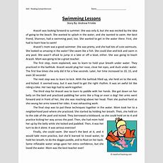 Reading Comprehension Worksheet  Swimming Lessons