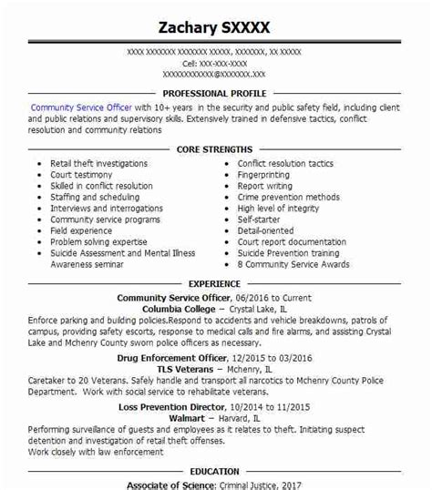 Resume For Community Service by Community Service Officer Resume Sle Resumes Misc