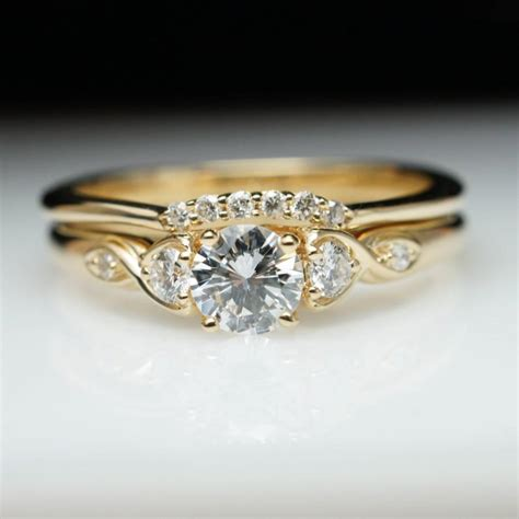 vintage style engagement ring wedding band vintage style yellow gold