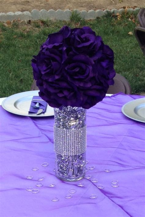 purple and silver centerpieces i made for a bridal shower