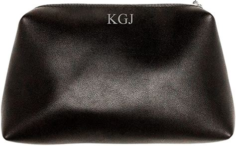 amazoncom personalized cosmetic clutch makeup bag  women silver initials black