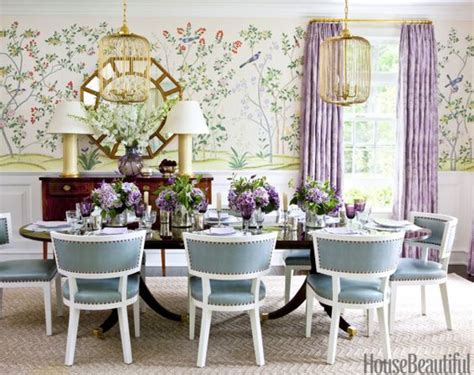vibrant like green and mauve dining room with aqua