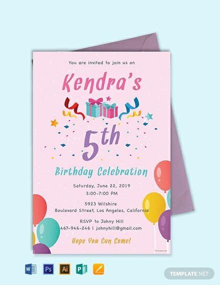 5th birthday invitation card template free 5th birthday invitation template word psd