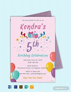 Invitation Layouts Free Free 5th Birthday Invitation Template Word Psd