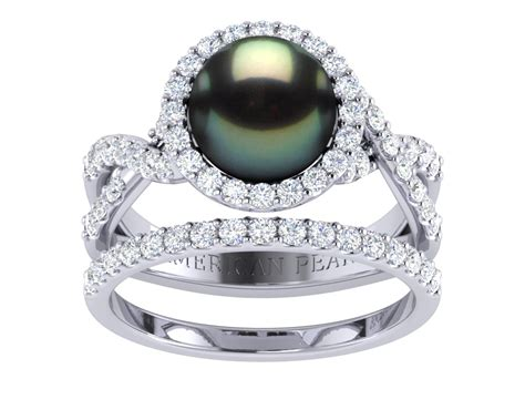 tahitian pearl flow engagement ring wedding band set