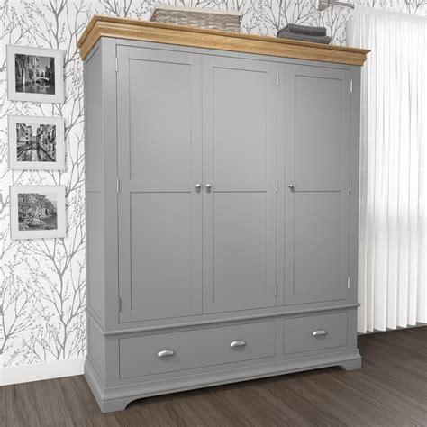 Grey Wood Wardrobe by Grey 3 Door Wardrobe Oak Top 2 Drawer Solid Wood