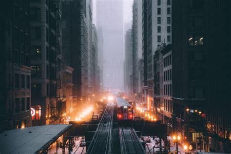 chicago railway snow train cityscape metro lights