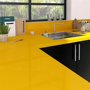 Plan De Travail Céramique : plan de travail stratifi jaune serin brillant x p ~ Dailycaller-alerts.com Idées de Décoration