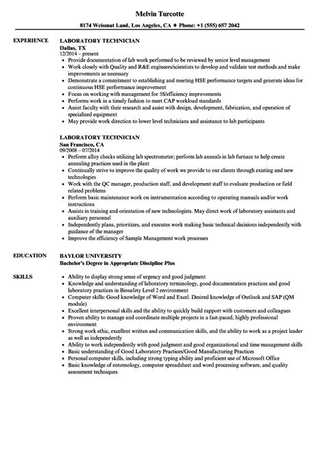 sle resume lab technician word certificate of