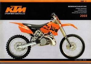 Ktm 250sx Owners Handbook 2003