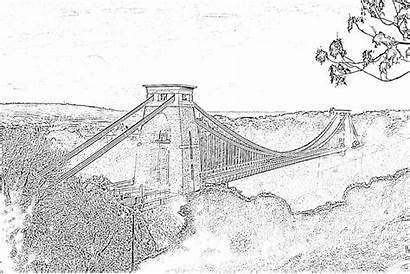 Colouring Bristol Scenery Sheets Bridge Suspension Iconic