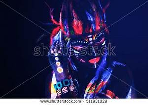 Portrait Woman Image Red Indian Neon Stock